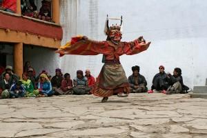 cham dance in a ladakhi monastery festival