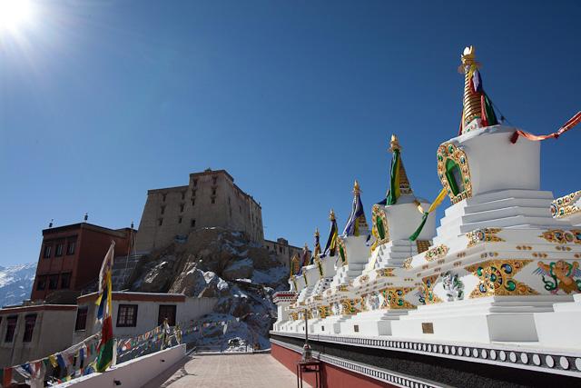 chortens, thiksey monastery, ladakh