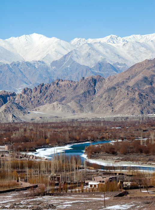 Landscapes of Ladakh in winter with Indus flowing through the mountains