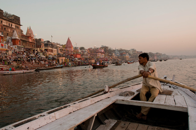 Varanasi - riding a boat on the Ganges