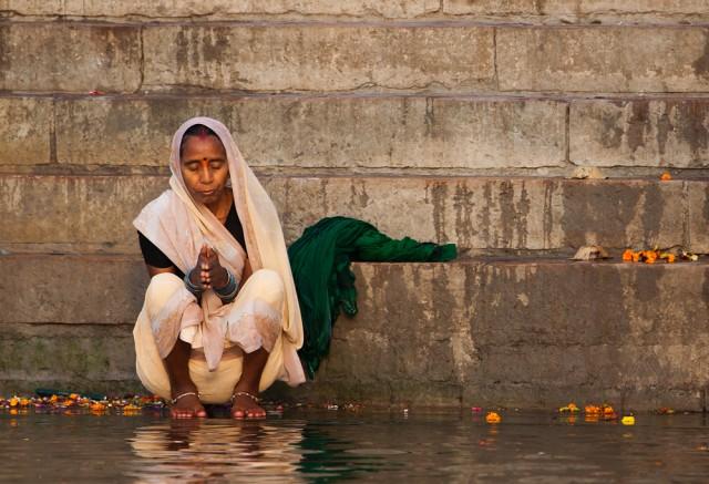 a pilgrim on the ghats of Varanasi