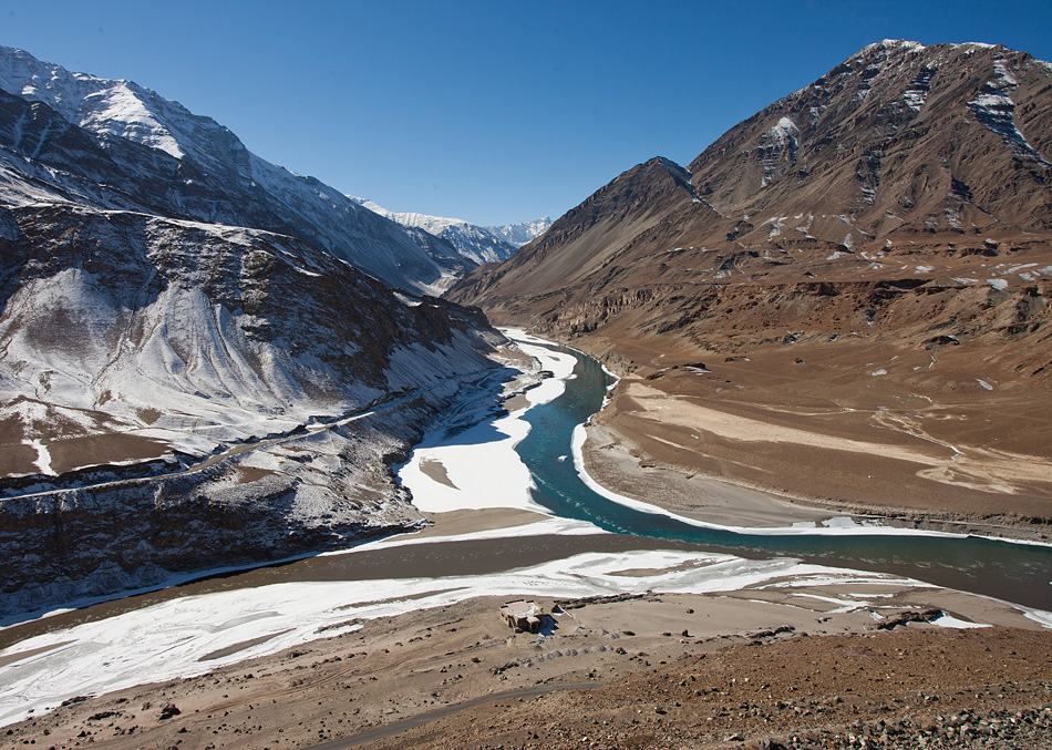 Confluence of Indus and Zanskar Rivers at Nimu, Ladakh