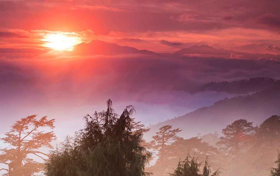 Sunrise from Dochula Pass, Bhutan