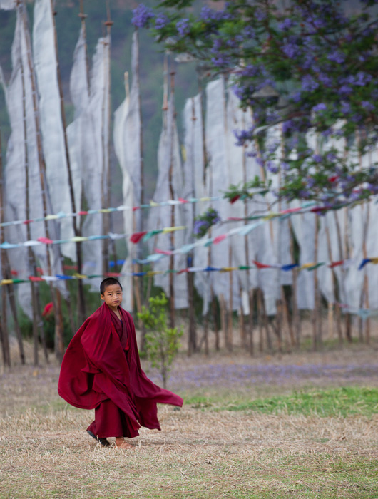 A young monk in Chimi Lhakhang, Bhutan