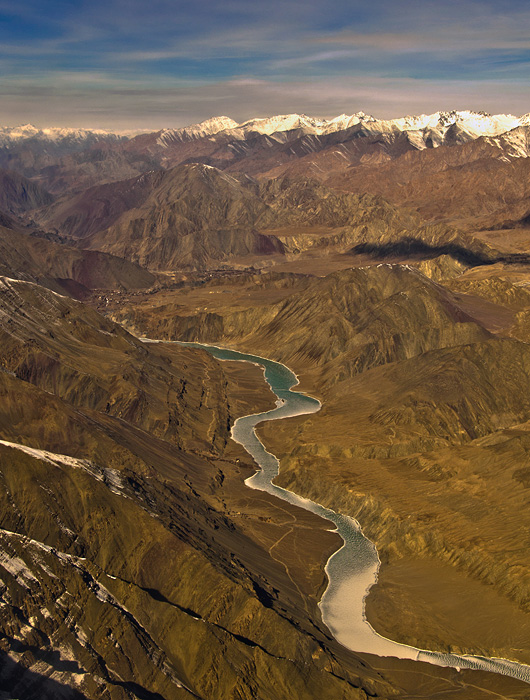 Landscapes of Ladakh from an aircraft
