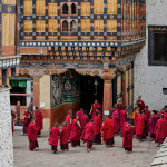 Monks Gathered After a Puja at Rimpung Dzong in Paro, Bhutan