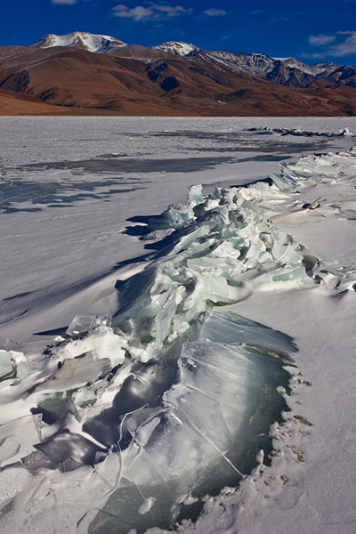 A frozen Tso Moriri Lake during winter months in Ladakh