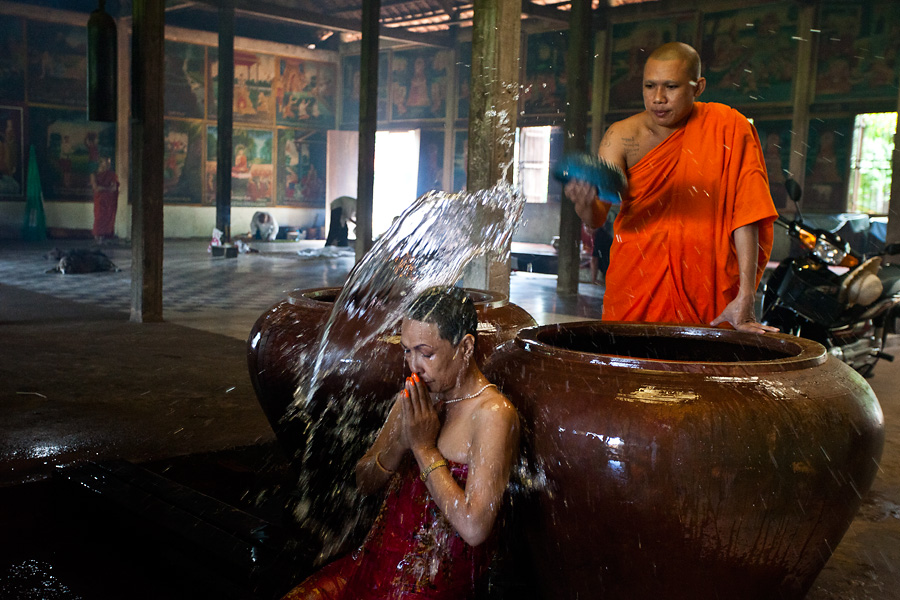 A monk at a blessing ceremony in a Cambodian monastery