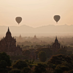 Balloons over the pagodas of Bagan