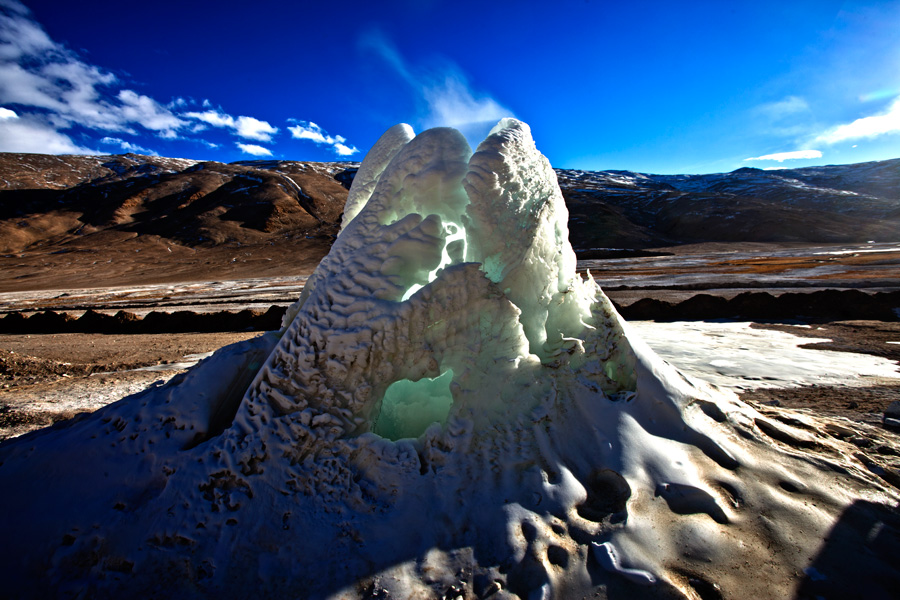 Hot springs of Chhangthang Plateau, Ladakh, in winter