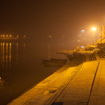 Ghats of Varanasi glittering in the night