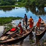 Cambodian Monks on a boat