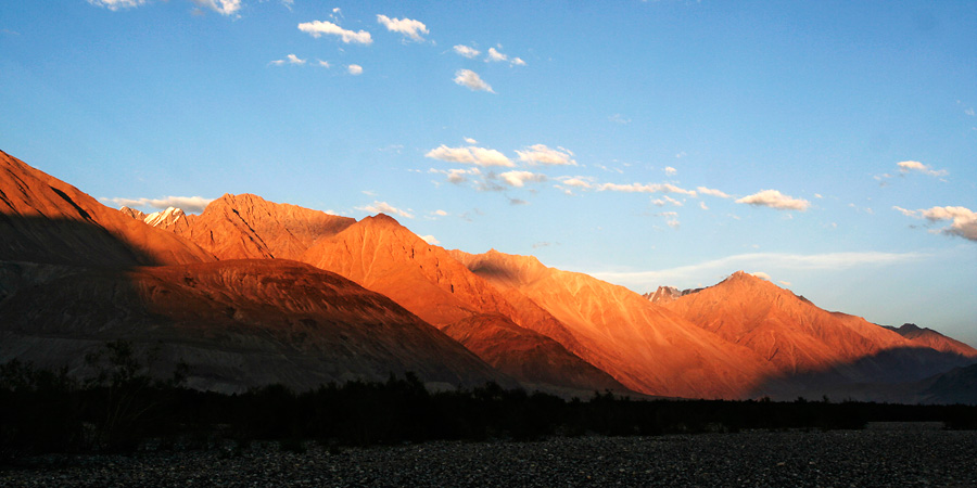 Setting sun at Nubra Valley