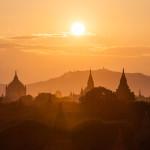 Sunset over the Pagodas at Bagan, Myanmar.
