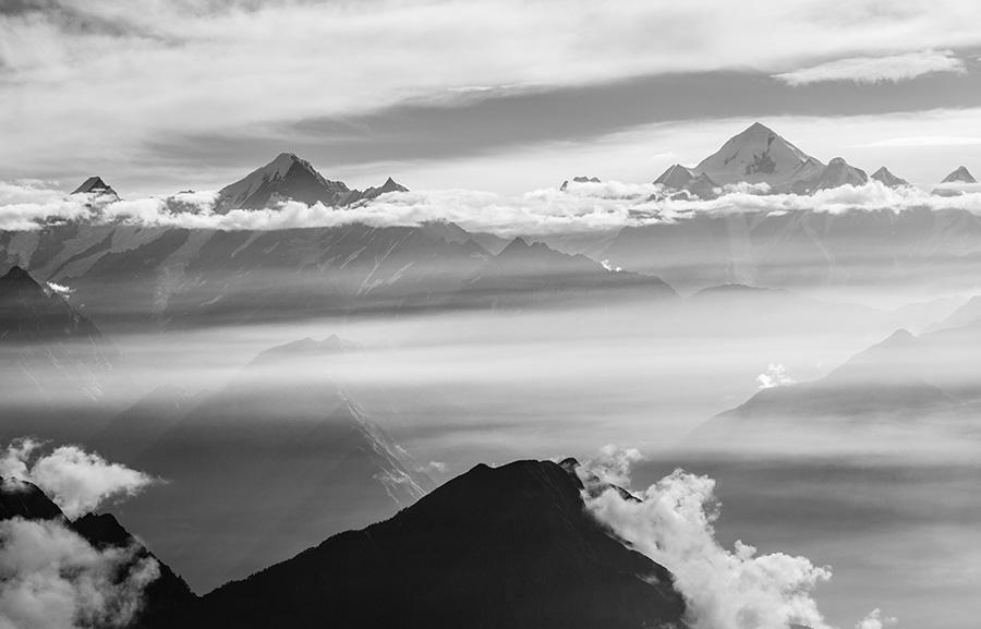 Sunrise over Panchchuli peaks, Uttarakhand